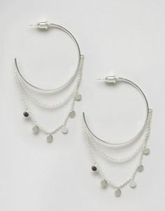 Броские серьги-кольца с монетами Orelia - Серебряный