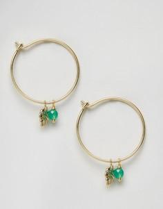 Серьги-кольца с пальмовым листом и бусиной Orelia - Золотой