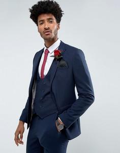 Темно-синий фактурный приталенный пиджак ASOS Wedding - Темно-синий