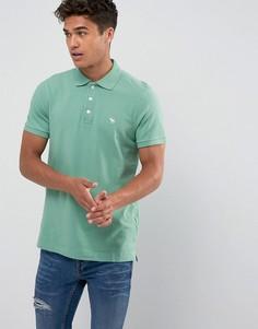 Зеленая обтягивающая футболка-поло из эластичного пике Abercrombie & Fitch - Зеленый
