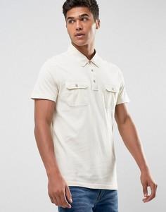 Бежевая облегающая трикотажная футболка-поло Abercrombie & Fitch - Бежевый