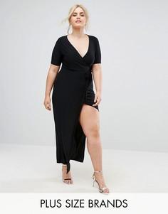 Платье макси с запахом Club L Plus - Черный