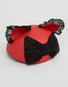 Шапка с кружевным бантом и кошачьими ушками Helene Berman - Красный