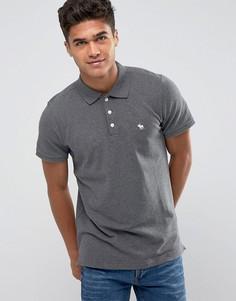 Темно-серая облегающая футболка-поло из эластичного пике Abercrombie & Fitch - Серый