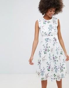 Короткое приталенное платье с цветочным принтом Darling - Кремовый