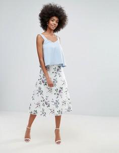 Сетчатая юбка-трапеция с цветочной вышивкой Darling - Кремовый