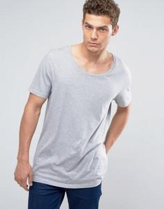 Удлиненная футболка с овальным вырезом ASOS - Серый