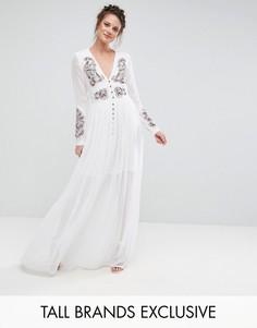 Платье макси на пуговицах с вышивкой Frock And Frill Tall - Белый