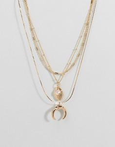 Ожерелье-чокер в несколько рядов Ashiana - Золотой