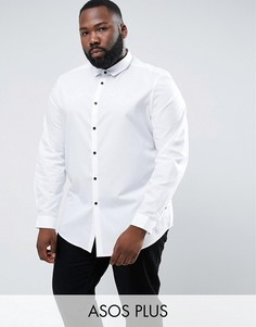 Белая рубашка классического кроя с контрастными пуговицами ASOS PLUS - Белый
