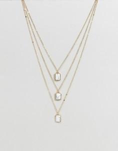 Ожерелье в три слоя с камнями Ashiana - Золотой
