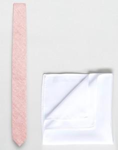 Узкий фактурный галстук и платок для пиджака ASOS - Розовый