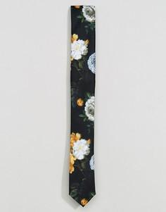 Узкий галстук с цветочным принтом ASOS - Белый