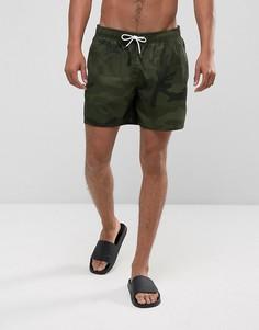 Зеленые шорты для плавания с камуфляжным принтом Abercrombie & Fitch 5 - Зеленый