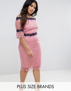 Кружевное платье с вырезом лодочкой Paper Dolls Plus - Розовый
