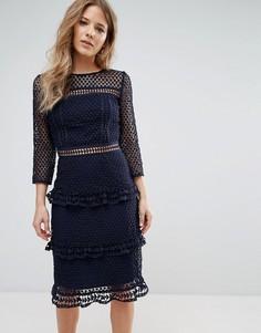 Кружевное платье миди с рукавами 3/4 Liquorish - Темно-синий