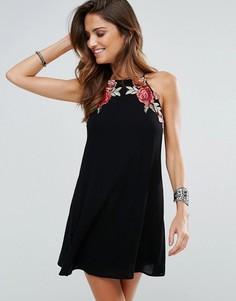 Пляжное платье с цветочной аппликацией Surf Gypsy - Черный