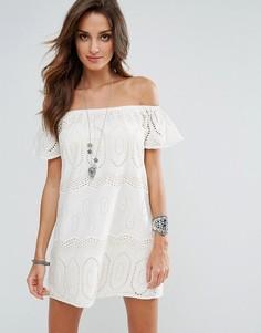 Пляжное платье с открытыми плечами Surf Gypsy - Кремовый