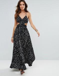 Черное пляжное платье макси с принтом Surf Gypsy - Мульти