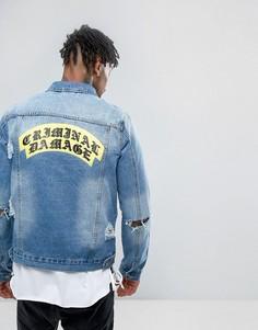 Джинсовая куртка с рваной отделкой и принтом на спине Criminal Damage - Синий