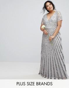 Платье макси с однотонными пайетками Lovedrobe - Серебряный