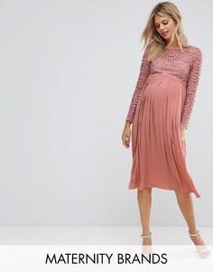 Платье миди с плиссированной юбкой и ажурным лифом Little Mistress Maternity - Розовый