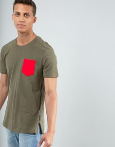 Длинная футболка с карманом и молнией Loyalty and Faith - Зеленый