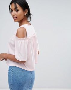 Топ с вырезами на плечах и широкими рукавами Daisy Street - Розовый