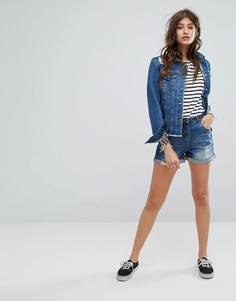 Темно-синие джинсовые шорты с потертой отделкой Gandys Heritage - Синий