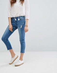 Укороченные джинсы с необработанным низом Gandys - Синий