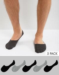 Набор из 5 пар невидимых носков Burton Menswear - Серый