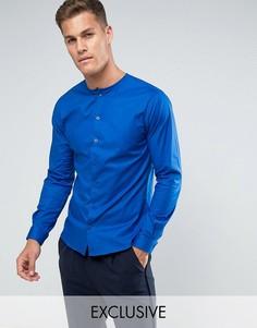 Облегающая рубашка без воротника Noak - Темно-синий