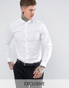 Строгая рубашка скинни с закругленным воротником Noose & Monkey - Белый