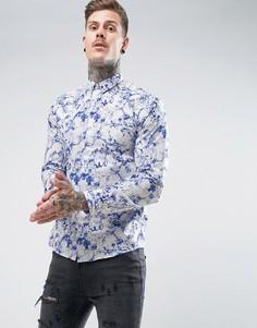 Строгая рубашка скинни с принтом Noose & Monkey - Синий