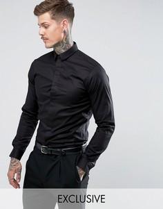 Строгая приталенная рубашка с остроконечным воротником Noose & Monkey - Черный