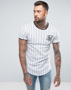 Белая обтягивающая футболка с полосками SikSilk - Белый