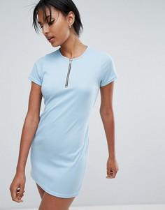 Платье-футболка с кольцом на бегунке молнии и поясом Daisy Street - Синий