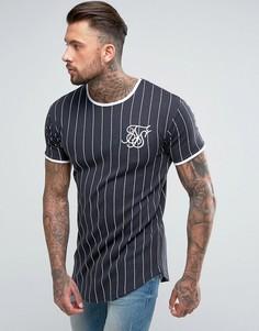 Темно-синяя обтягивающая футболка с полосками SikSilk - Темно-синий