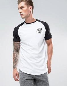 Белая обтягивающая футболка с рукавами реглан SikSilk - Белый