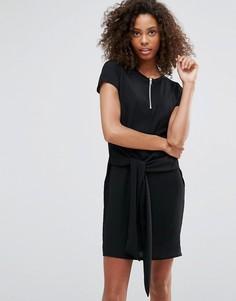 Платье-футболка с кольцом на бегунке молнии и поясом Daisy Street - Черный