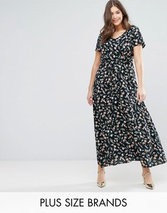 Платье макси с цветочным принтом Yumi Plus - Черный
