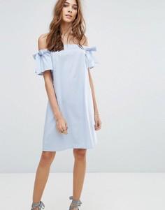 Платье мини со спущенными плечами и завязками на рукавах New Look - Синий