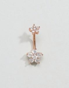 Украшение для пирсинга пупка цвета розового золота с цветками Kingsley Ryan - Золотой