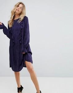 Платье с длинными рукавами и рюшами Y.A.S Serry - Темно-синий