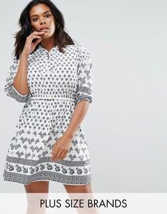 Платье с принтом и ремнем Yumi Plus - Белый