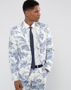 Облегающий пиджак с цветочным принтом ASOS Wedding - Синий