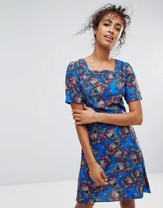 Платье с квадратным вырезом и цветочным принтом Trollied Dolly - Синий