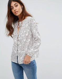 Блузка с принтом и завязкой Goldie - Мульти