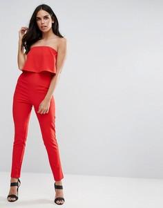Красный комбинезон с двухслойным лифом-бандо Missguided - Красный