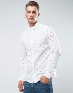 Облегающая рубашка с принтом Only & Sons - Белый